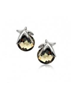 Cercei STAR RIGANT Black Diamond cu reflexii  cu cristale Swarovski placati cu aur 18k varianta silver