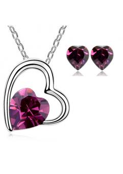 Set bijuterii Sweet Leaf cu cristale purple, placat cu aur 18K si garantie 6 luni