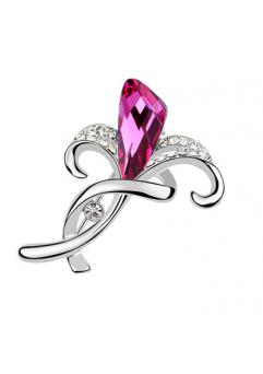 Brosa 1039 My love dark rose cu cristale Swarovski si placata cu aur 18K  garantie 6 luni1