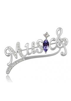 Brosa Music silver  cu elemente Swarovski violet si placata cu aur 18K garantie 6 luni
