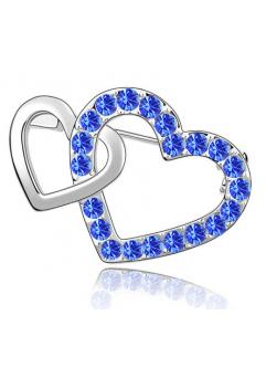 Brosa Double Heart blue capri cu elemente Swarovski si placata cu aur 18K garantie 6 luni