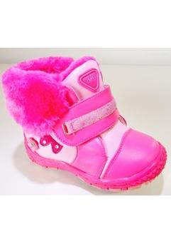Ghete roz inchis cu blana fete marimi 22-27 blanite, inchidere cu scai si fermoar