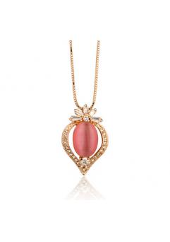Colier cu cristale Gold Heart Pearl placat cu aur 18k si garantie 6 luni