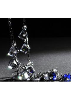Colier cu cristale 3D Square blue placat cu aur 18k si garantie 6 luni