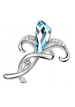 Brosa 1039 My love aquamarine cu cristale Swarovski si placata cu aur 18K  garantie 6 luni