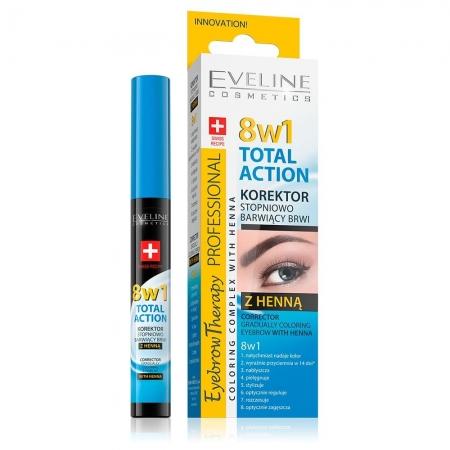 Corector Sprancene 8in1 + Vopsea Sprancene Henna, Eveline Cosmetics 8 in 1 Total Action