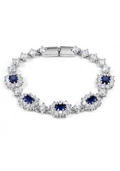 Bratara Regal Blue cu cristale, placata cu aur 18K si garantie 6 luni in cutie de bijuterii din piele ecologica