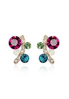 Cercei Charisma cu cristale turquoise si rose, placati cu aur 18k, garantie produs 6 luni de zile