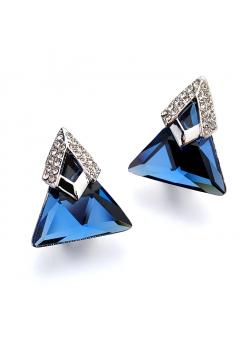 Cercei Start Blue cu cristale Swarovski placati cu aur 18k gold, garantie produs 6 luni de zile