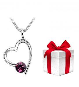 PROMO Colier BRIGHT LOVE amethist cu cristale + cercei CADOU