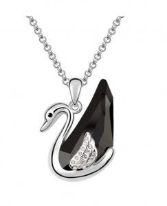 PROMO Colier cu cristale Black Swan placat cu aur 18K + cercei asortati CADOU