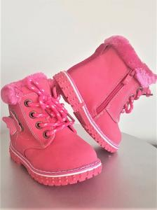 Ghete blanite cu blana fete marimi 21-25, inchidere cu scai si fermoar,culoare roz inchis