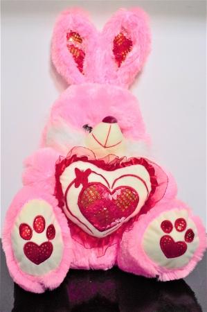 Iepuras din plus roz cu alb 50cm, cadoul ideal de Valentine's Day