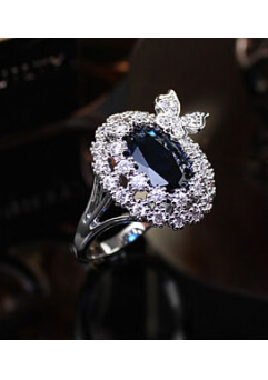 Inel Blue Butterfly diametru 16 cm cu cristale Swarovski placat cu aur 18k0