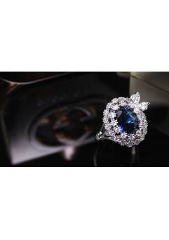 Inel Blue Butterfly diametru 16 cm cu cristale Swarovski placat cu aur 18k1