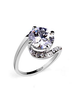 Inel Clasic White diametru 19 cm cu cristale Swarovski placat cu aur 18k