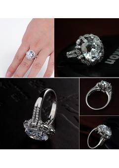 Inel KARINA White diametru 16cm  cu cristale Swarovski placat cu aur 18k