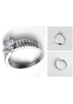 Inel Regal White diametru 18cm cu cristale Swarovski placat cu aur 18k