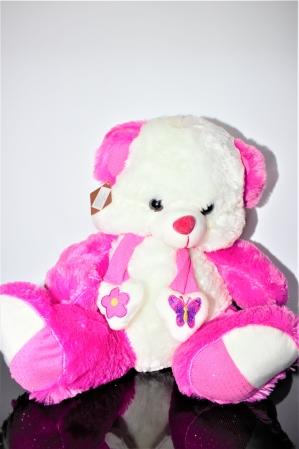 Jucarie de plus, Ursulet din plus alb cu roz 50cm, cadoul ideal de Valentine's Day