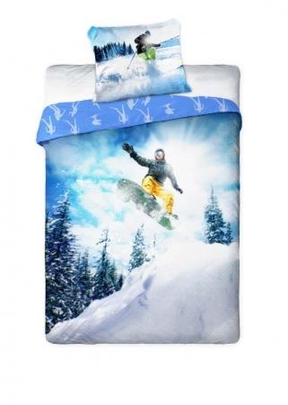 Lenjerie de pat licenta Sport pe zapada Snowboard marime 160x200 cm - 5907750552016