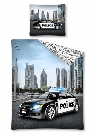 Lenjerie de pat licenta Police Car marime 160x200 cm