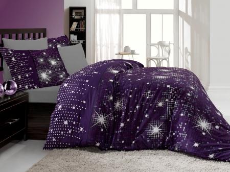 Lenjerie de pat premium Valentini Irilti violet bedset 220x200 cm - editie LIMITATA