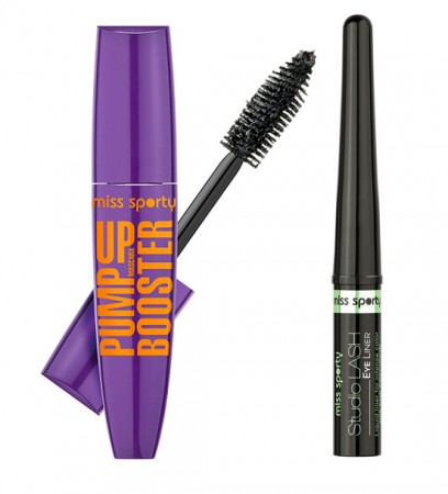 Pachet promo Miss Sporty: Mascara Pump Up Lash Booster Black + Tus de Ochi Studio Lash 01 Black