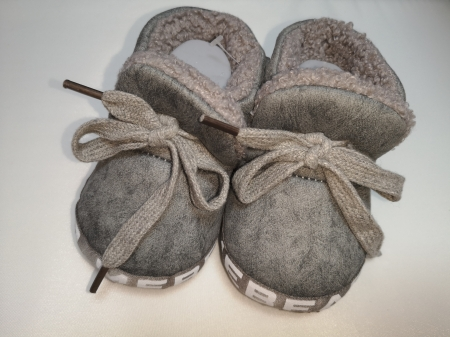 Papucei Aura.via de casa cu blanita, gri, marimi 12-18
