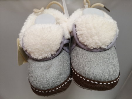 Papucei Baby de casa cu blanita, gri, marimi 12-18