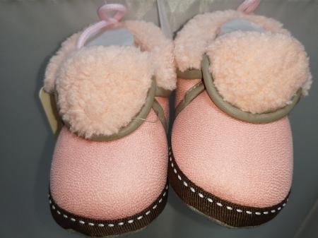 Papucei Baby de casa cu blanita, roz, marimi 12-18
