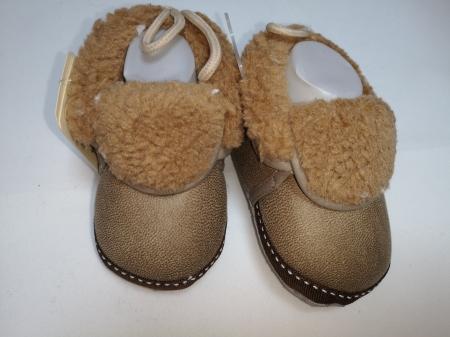 Papucei Baby de casa cu blanita, maro, marimi 12-18