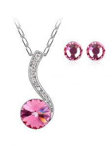 Set bijuterii Adela rose cu cristale, garantie 6 luni