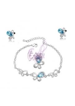 Set bijuterii Butterfly 3in1 (cristale swarovski blueink)
