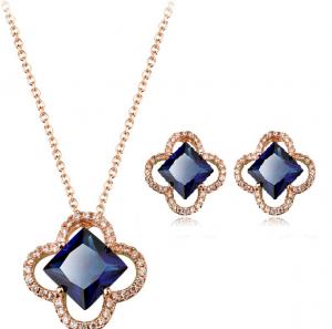 Set bijuterii cu cristale Square blue capri din 2 piese, placat cu aur 18k si garantie 6 luni