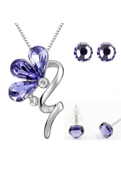 Set BLOOM LITTLE SHINE violet inchis cu cristale swarovski