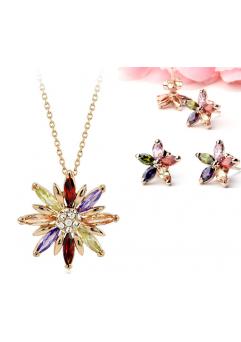 Set de bijuterii cu cristale STAR multicolor placat cu aur 18k si garantie 6 luni