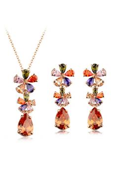 Set bijuterii Excentric Drop cu cristale multicolore, placat cu aur 18K si garantie 6 luni