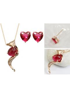 Set bijuterii Fox in Love din 4 piese cu cristale rose inchis, placat cu aur 18K si garantie 6 luni + CADOU surpriza!