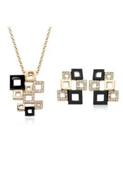 Set bijuterii Splendid Square black, cu cristale si garantie produs 6 luni
