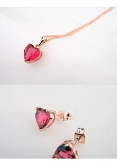 Set bijuterii Sweet Love rose inchis cu cristale, placata cu aur 18K si garantie 6 luni
