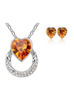 Set bijuterii Wish Love orange-portocaliu cu cristale Swarovski placat cu aur alb