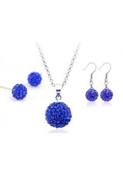 Set bijuteriii SHAMBALA albastru inchis-blue capri cu 2 perechi de cercei cu cristale swarovski