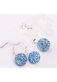 Set bijuteriii SHAMBALA lung lightblue cu cristale
