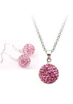 Set bijuteriii SHAMBALA lung  rose cu cristale