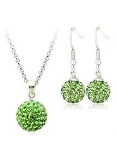 Set bijuteriii SHAMBALA lung green-verde cu cristale swarovski
