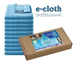 Set 10 x Laveta Premium E-Cloth Universala din Microfibra, Bucatarie, Baie, Geamuri, Praf, 32 x 32  cm, Albastru