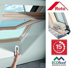 Rototronic R45 H WD lemn 54/78, fereastra de mansarda cu deschidere mediana si actionare electrica