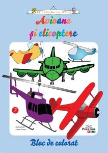 Avioane si elicoptere - carte de colorat