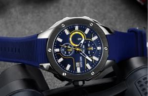 Ceas Megir  8135 - Sport | Cronograf | Albastru | Curea Silicon |
