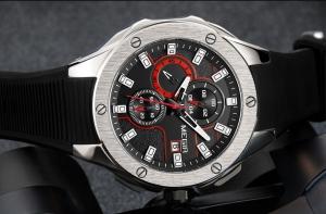 Ceas Megir 8135 - Sport | Cronograf | Negru - Rosu | Curea Silicon |